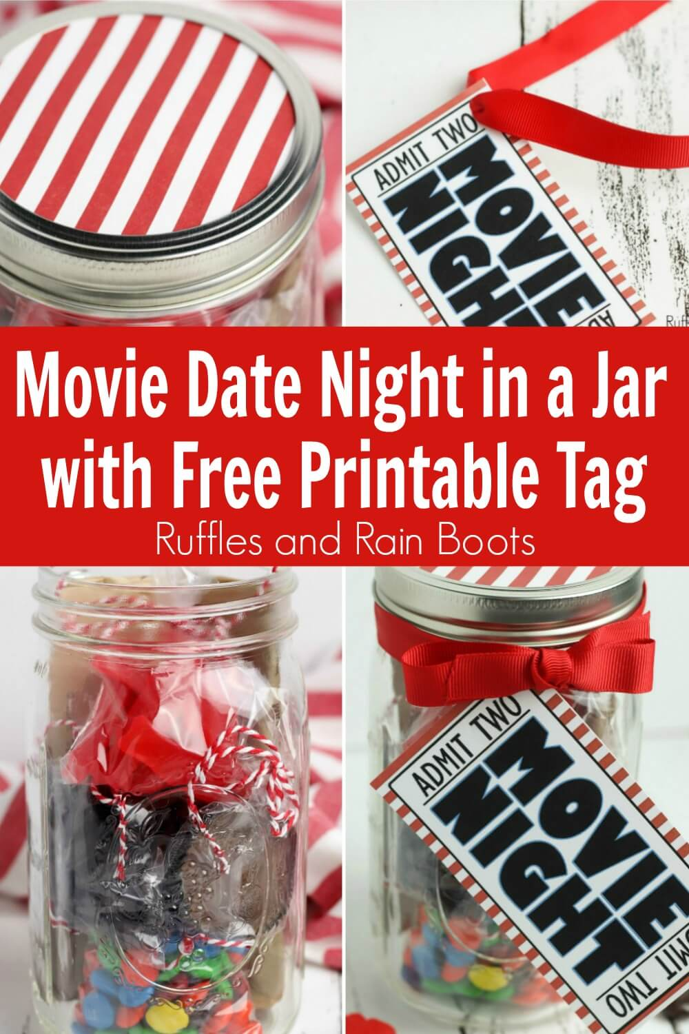 photo collage of a movie night in a jar with text which reads movie date night in a jar with free printable tag