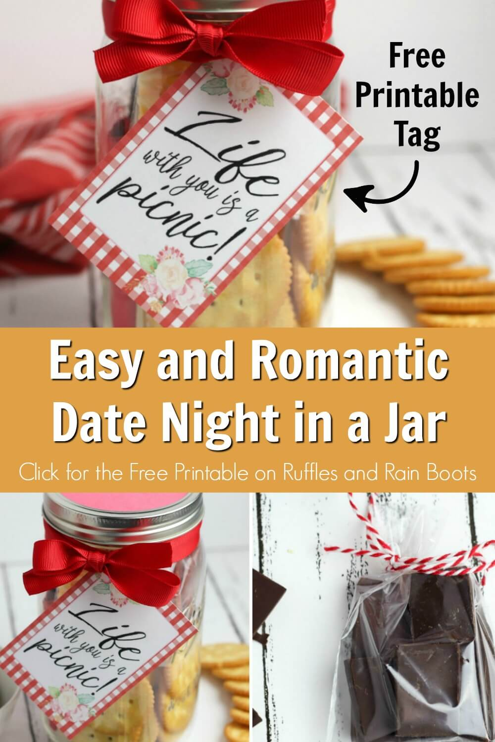 photo collage of picnic date night in a jar craft and date night idea with text which reads easy and romantic date night in a jar