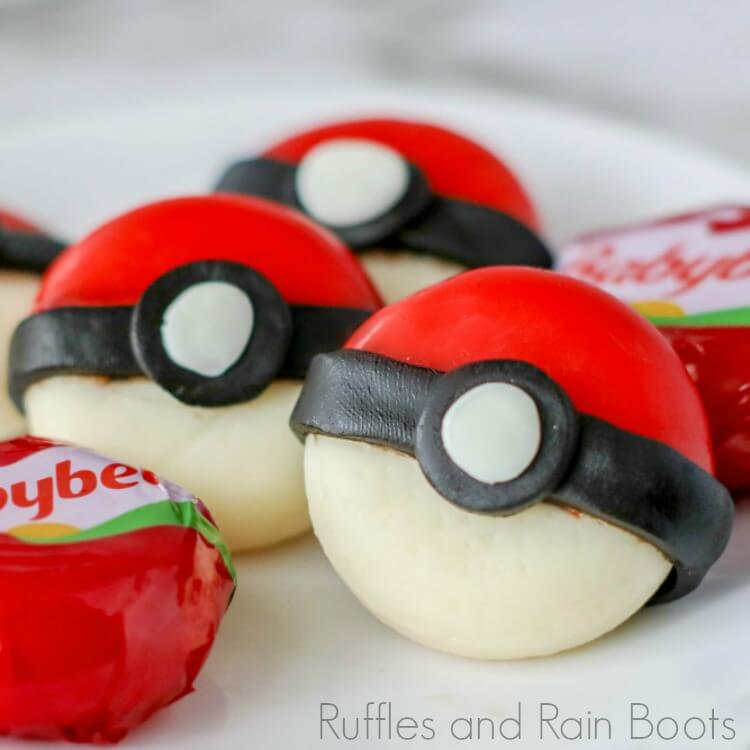 close-up of pokeball cheese snack on a plate