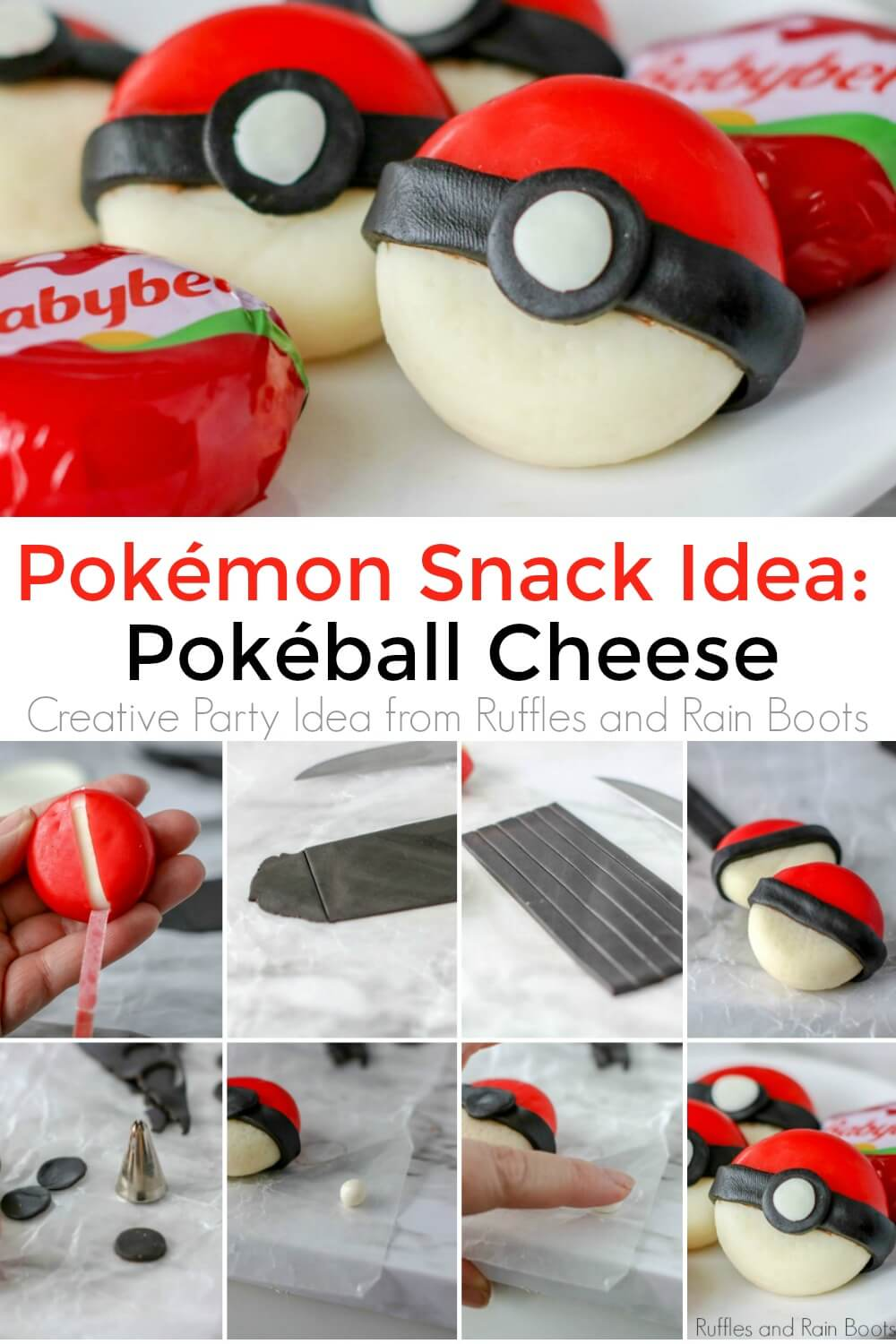 photo collage of pokeball cheese snack with text which reads pokeball snack idea: pokeball cheese