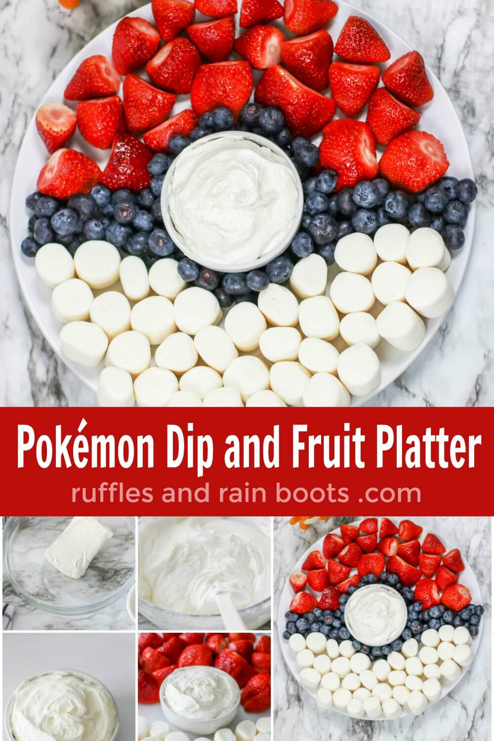 photo collage of how to make a pokemon fruit tray