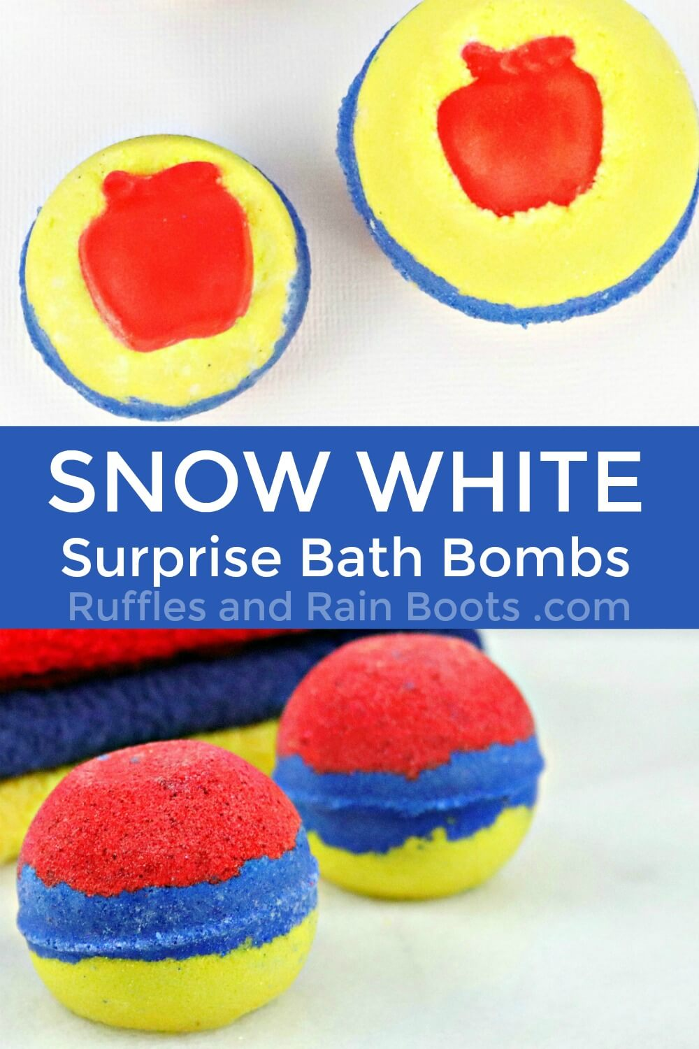 photo collage of the snow white bath bombs with text which reads snow white surprise bath bombs