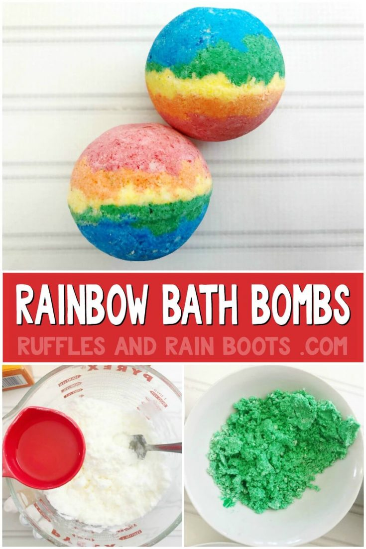 Make these fun rainbow bath bombs with just a few ingredients from the kitchen. The color and bubbles from this easy bath fizzy recipe will WOW everyone.