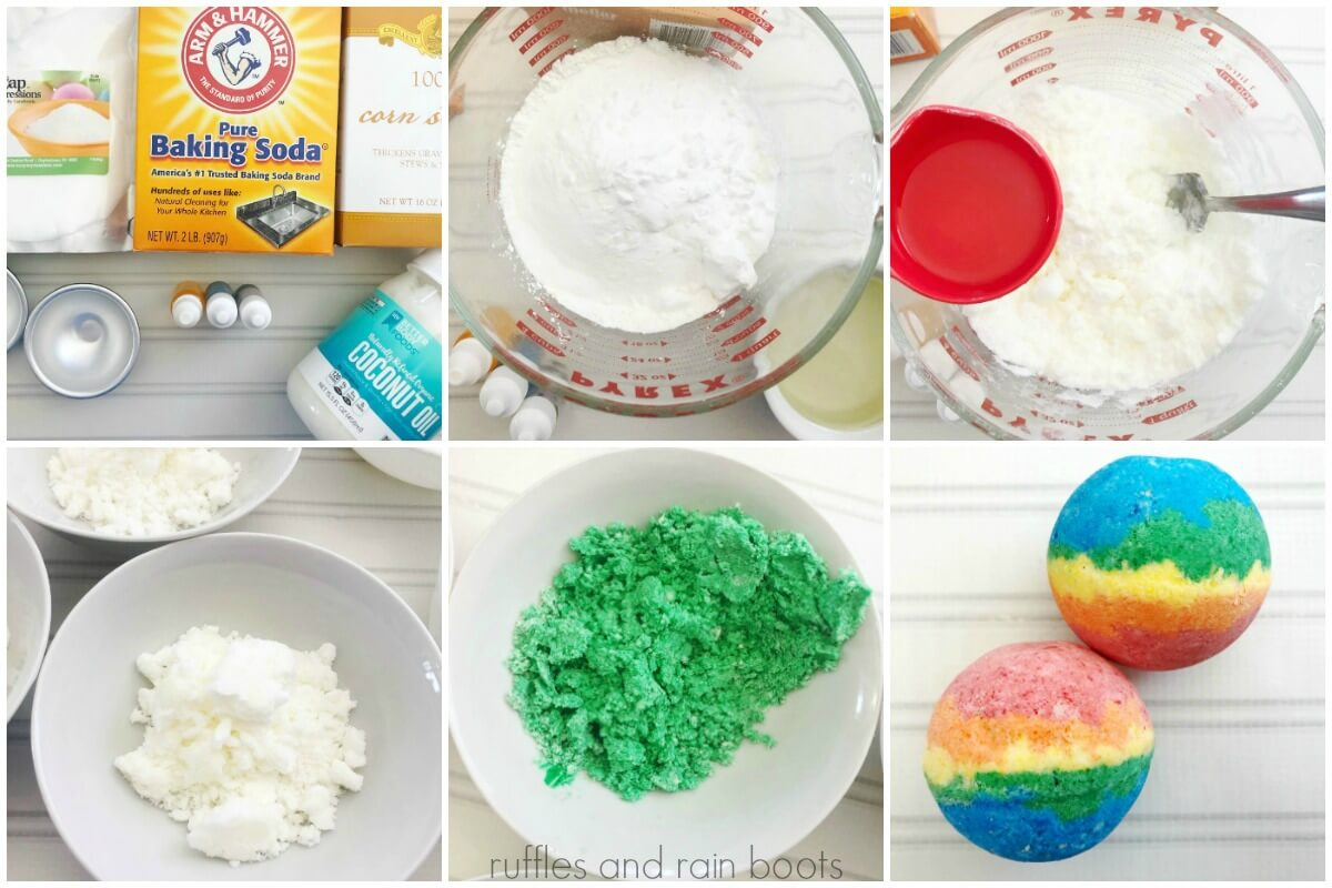 how to make rainbow bath bombs tutorial photo collage