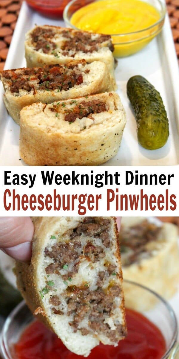 photo collage of cheeseburger pinwheel sandwiches with text which reads easy weeknight dinner cheeseburger pinwheels