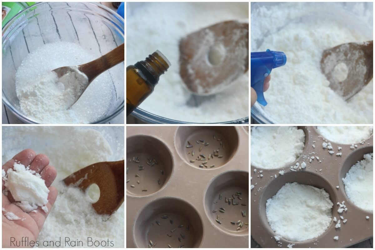 how to make allergy relief shower fizzies photo collage tutorial