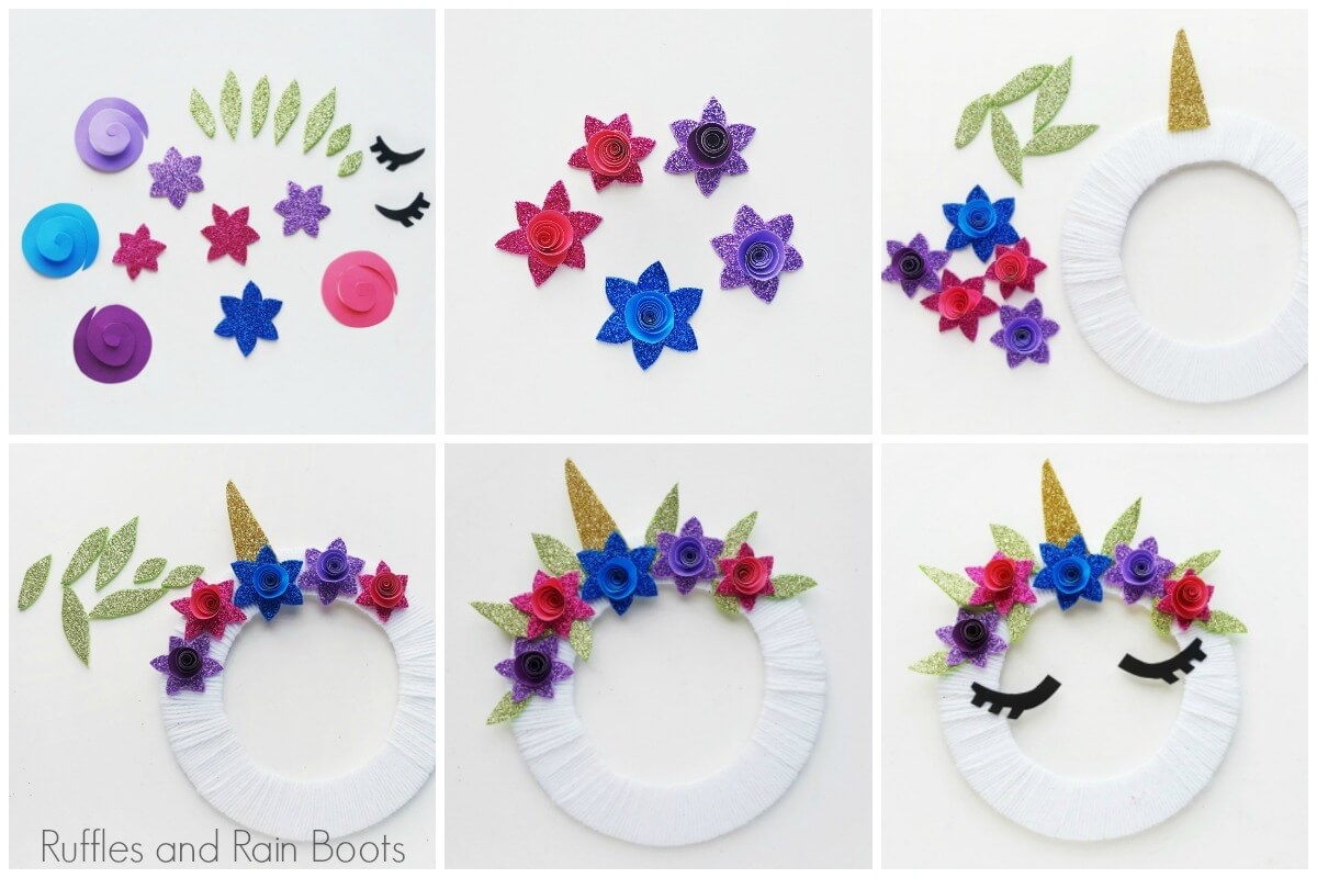 how to make a unicorn wreath photo tutorial collage