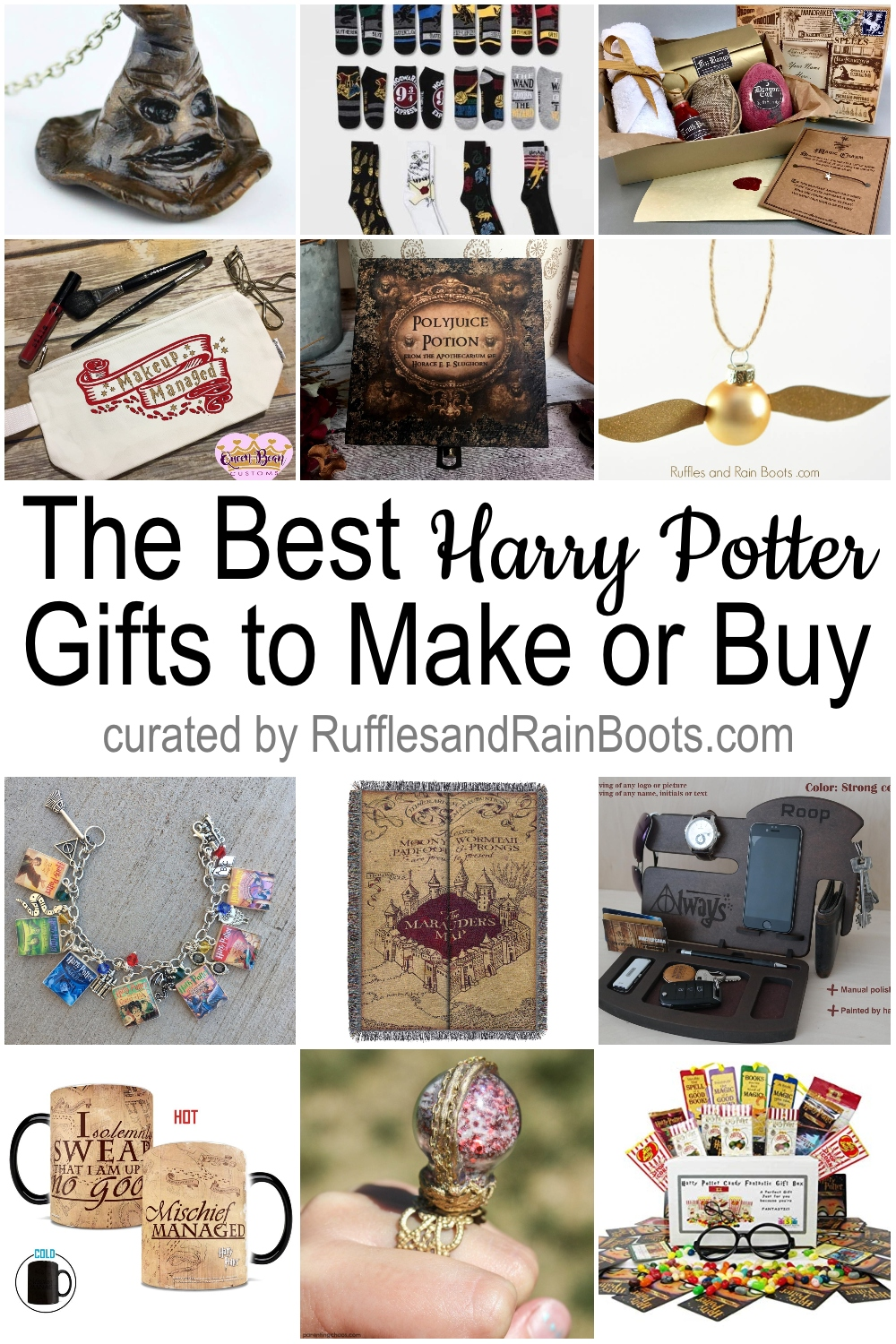 photo collage of harry potter gift ideas to make or buy with text which reads the best harry potter gifts to make or buy