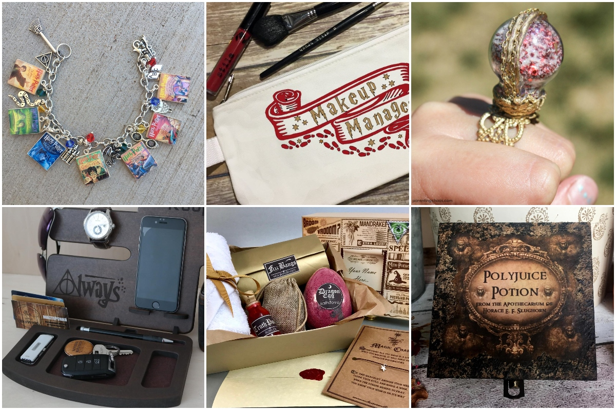 photo collage of DIY harry potter gift ideas