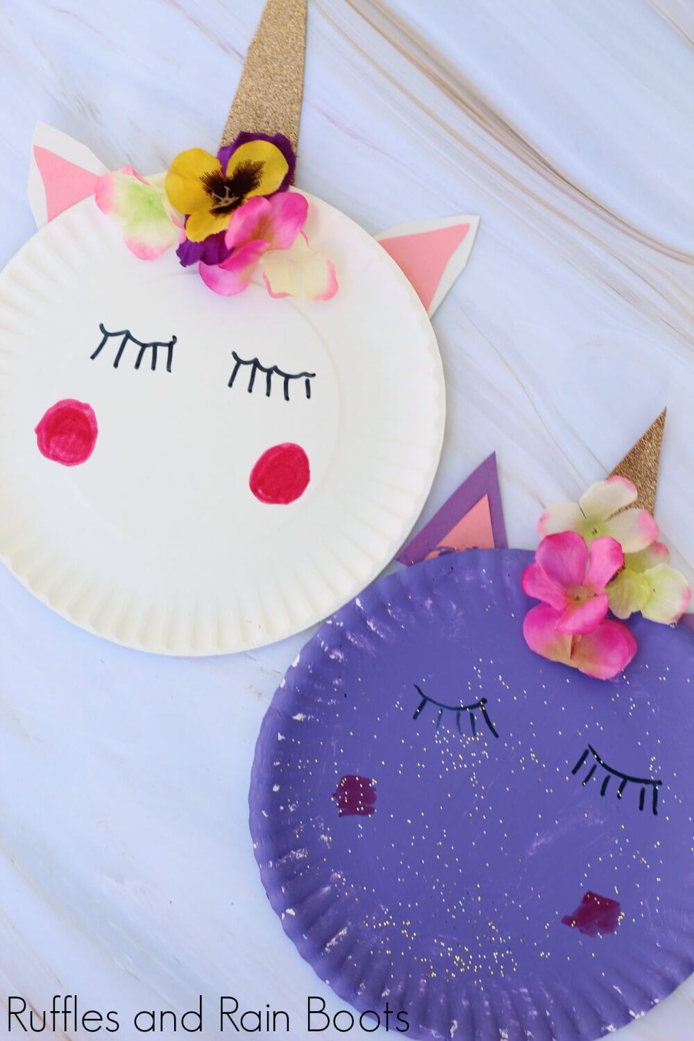unicorn paper plate craft with white and purple unicorn on white background