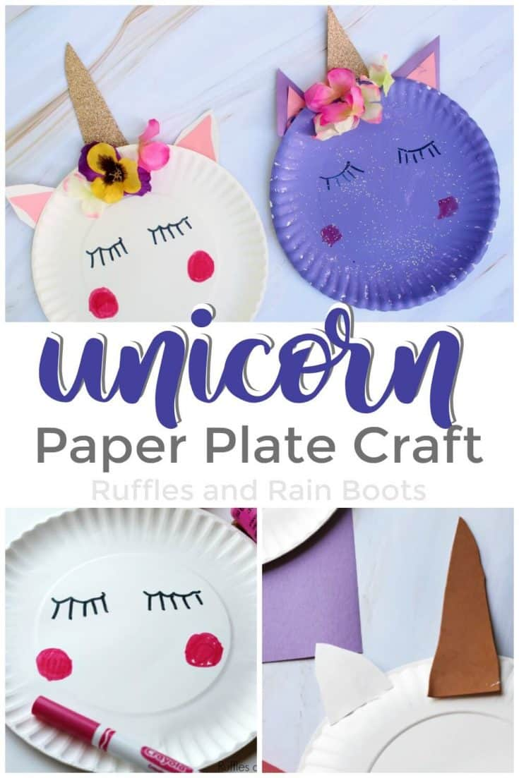 This unicorn paper plate craft is so simple and easy to do! You'll be done in no time at all! #unicorncrafts #unicorn #rufflesandrainboots #DIY #kidscrafts