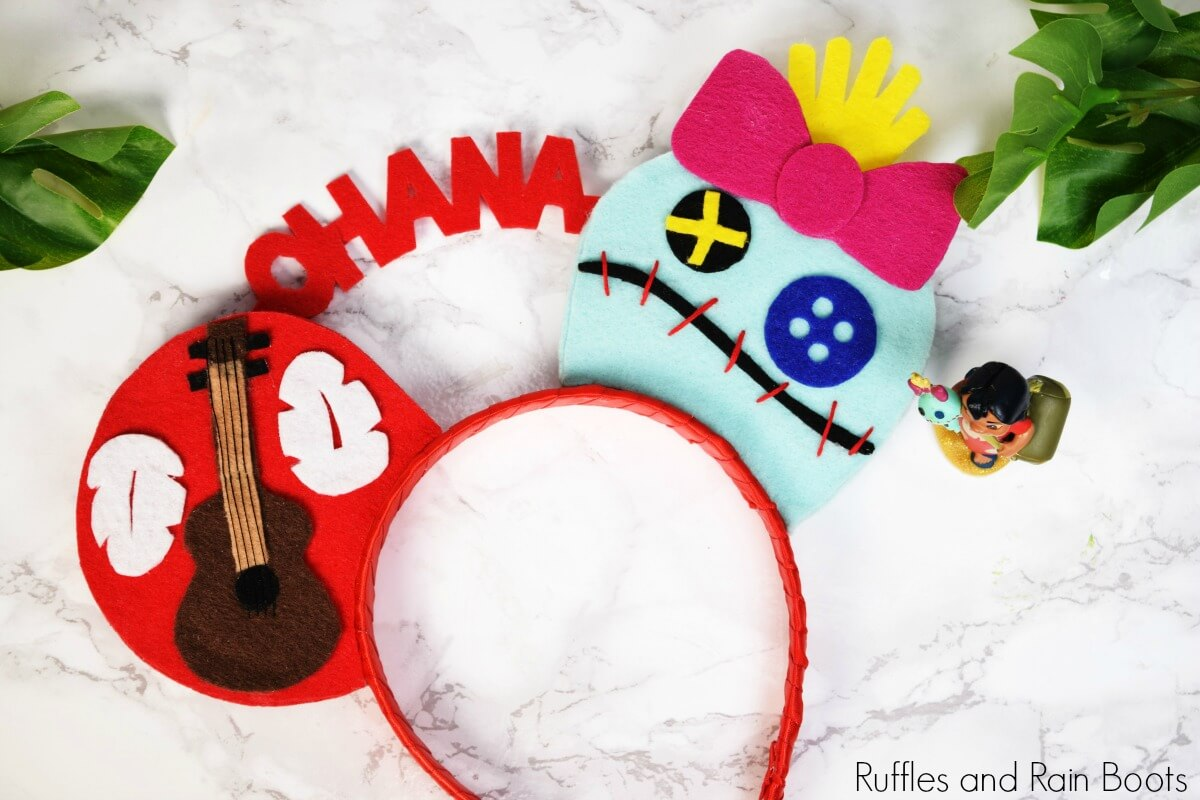 close up of Lilo Mickey ears featuring Lilo and Scrump from Disney's Lilo and Stitch