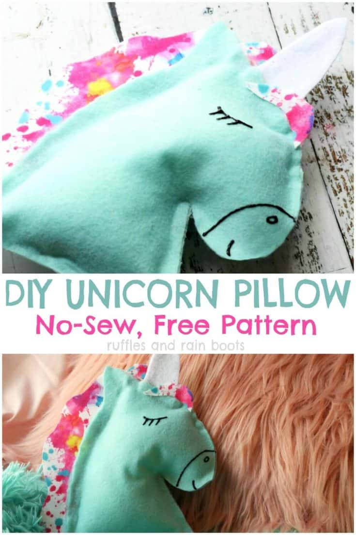 This no sew unicorn pillow is the perfect gift for unicorn lovers! #unicorn #unicorncrafts #rufflesnadrainboots