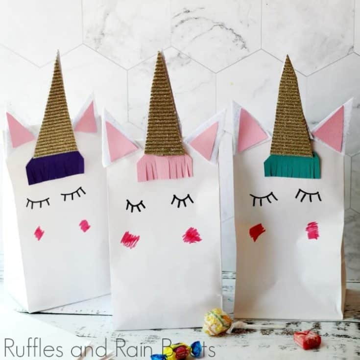 close up of three finished unicorn favor bags