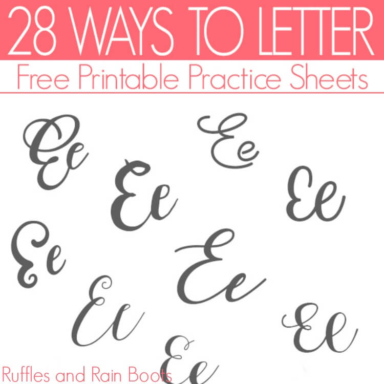 ways to letter e brush lettering practice sheets example