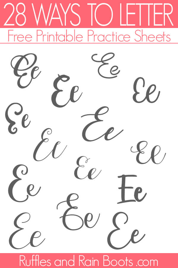 Examples of the ways to letter E brush lettering practice
