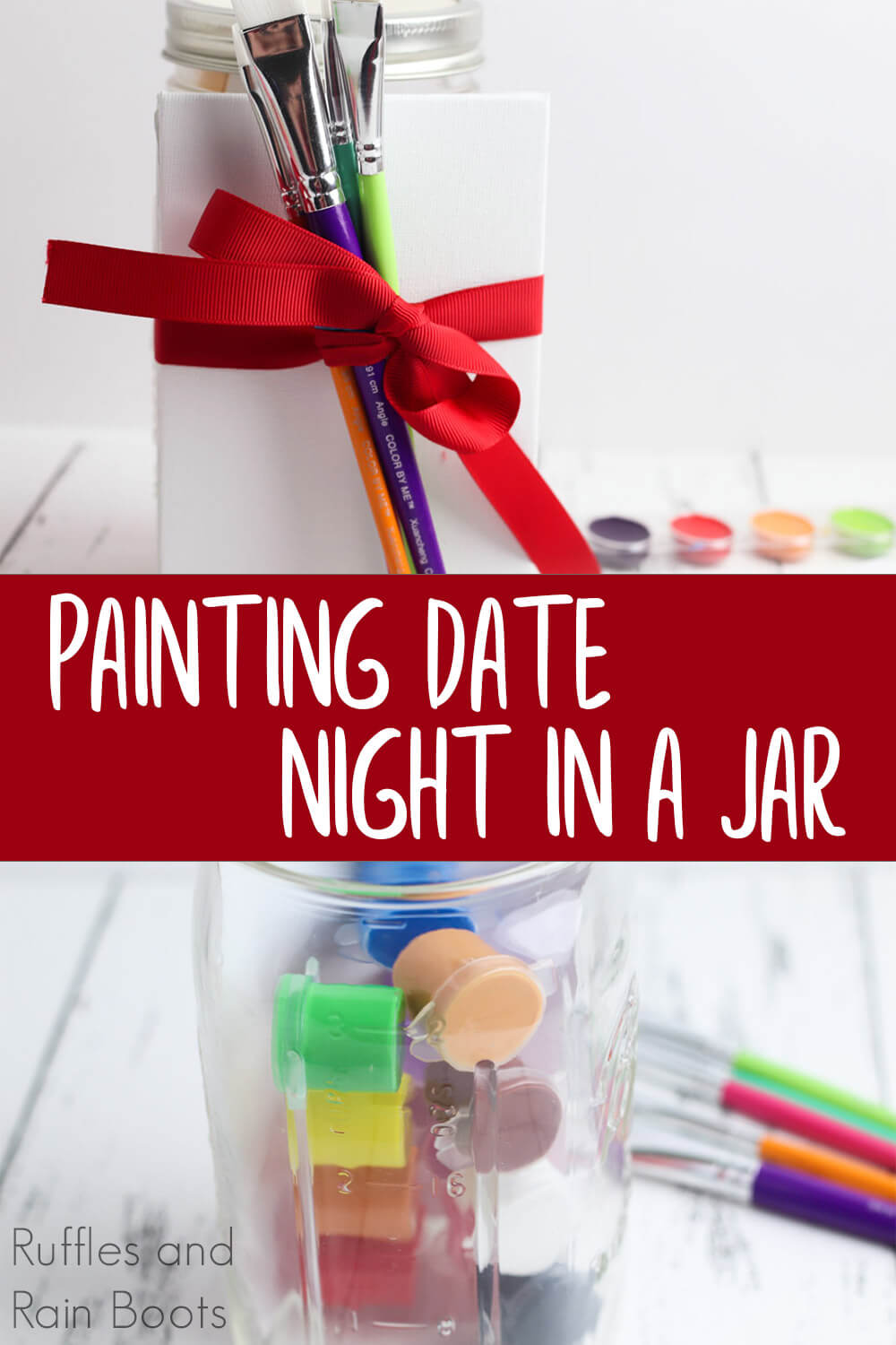 photo collage of date night in a jar for painting night with text which reads painting date night in a jar