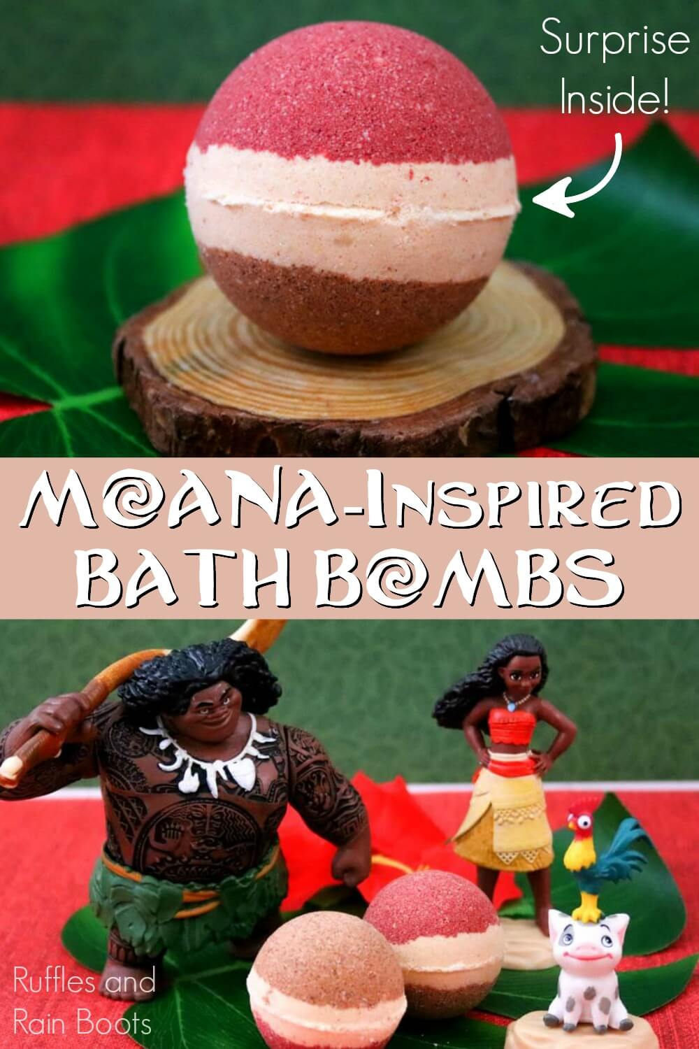 surprise moana bath bombs gifts for disney kids photo collage with text which reads moana inspired bath bombs