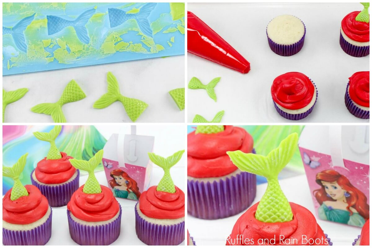 photo collage of how to make mermaid cupcpakes