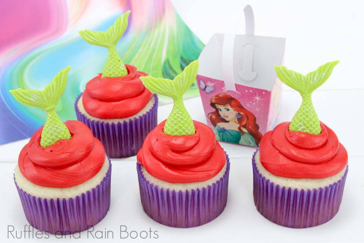 mermaid cupcakes for little mermaid party on a white background