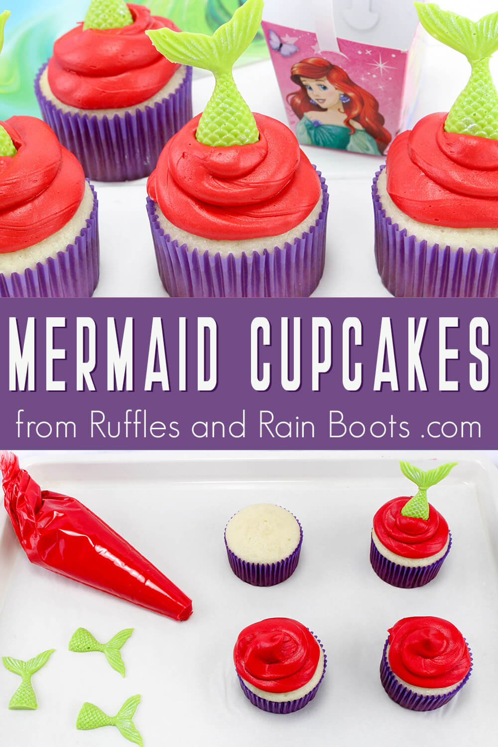 photo collage of tasty little mermaid cupcake recipe with text which reads mermaid cupcakes