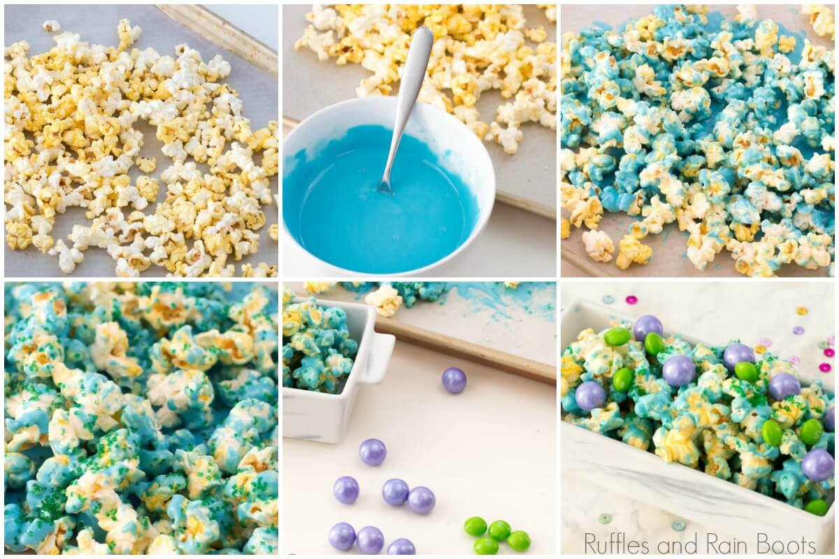 photo collage of how to make mermaid popcorn