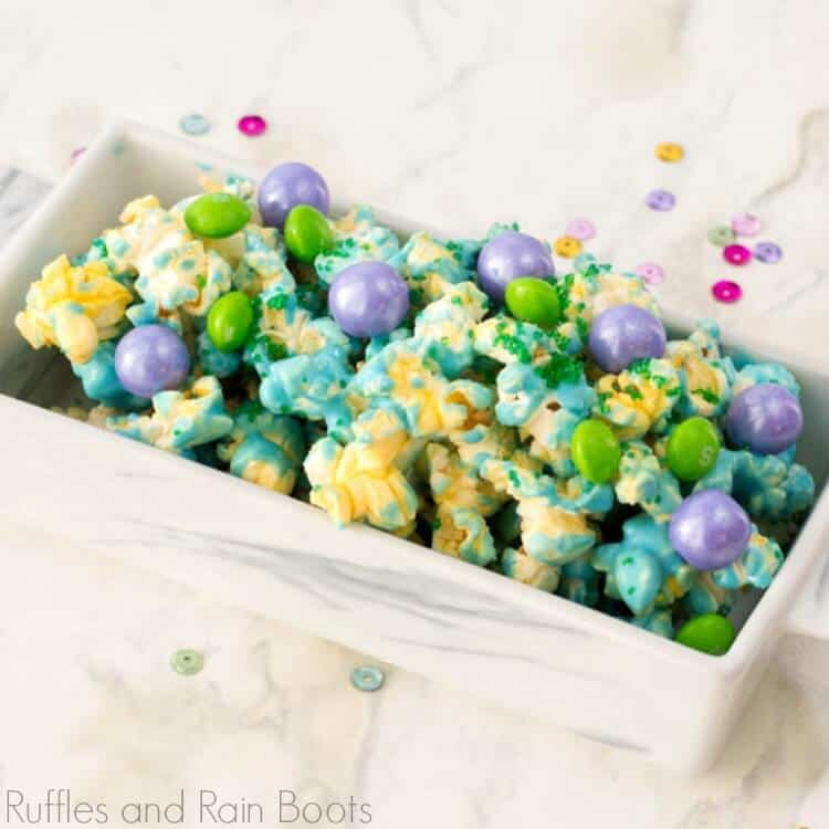 mermaid popcorn in a white bowl on a white background