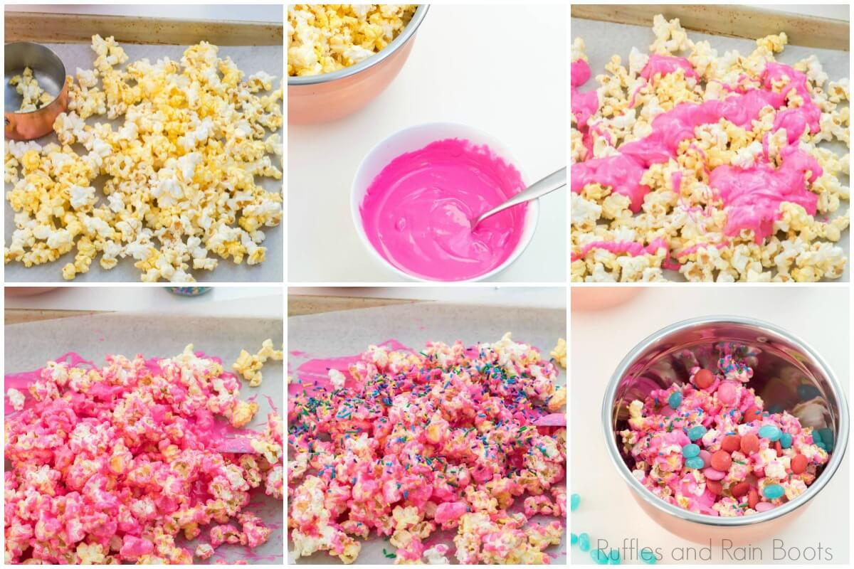 photo collage of how to make unicorn popcorn