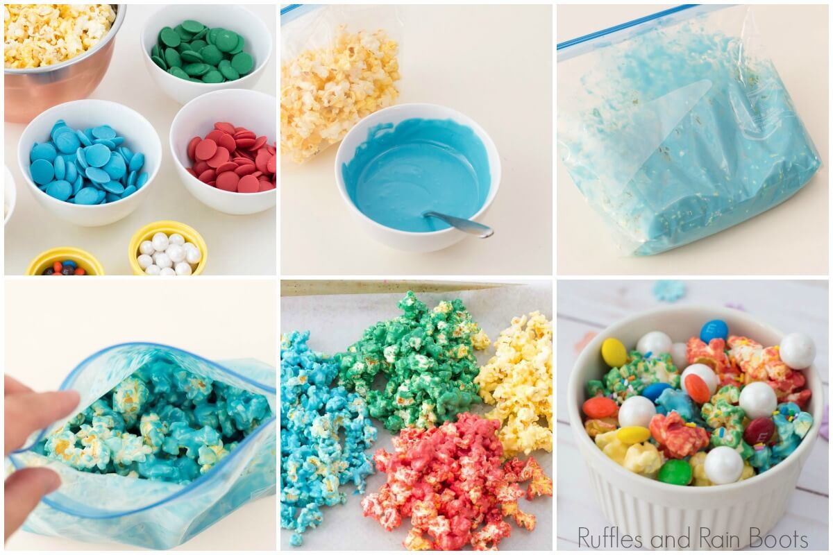 photo collage of how to make rainbow popcorn for an art party