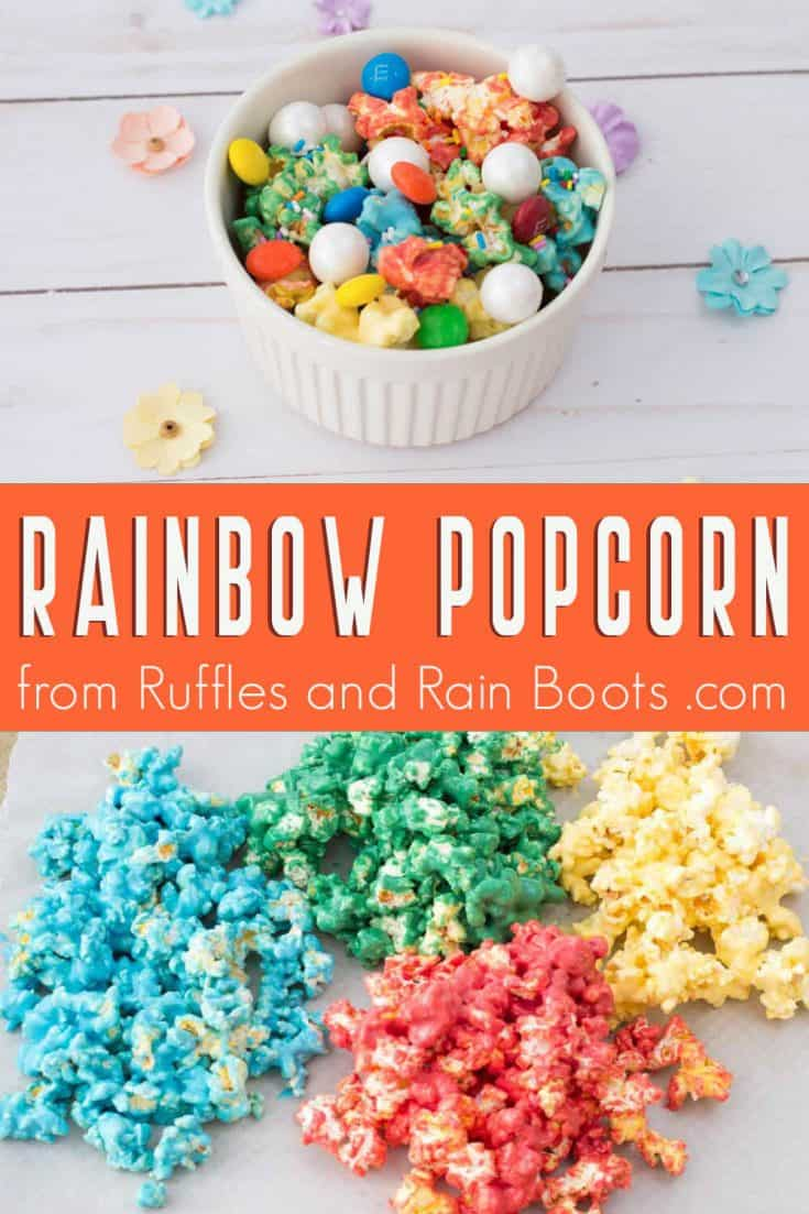 This is the most pretty rainbow popcorn I have seen! I can't wait to make this colored popcorn recipe for a movie night! Click here to see how she makes this easy popcorn recipe in seconds! #rainbowpopcorn #coloredpopcorn #candypopcorn #popcornrecipe #howtomakecandypopcorn #rufflesandrainboots