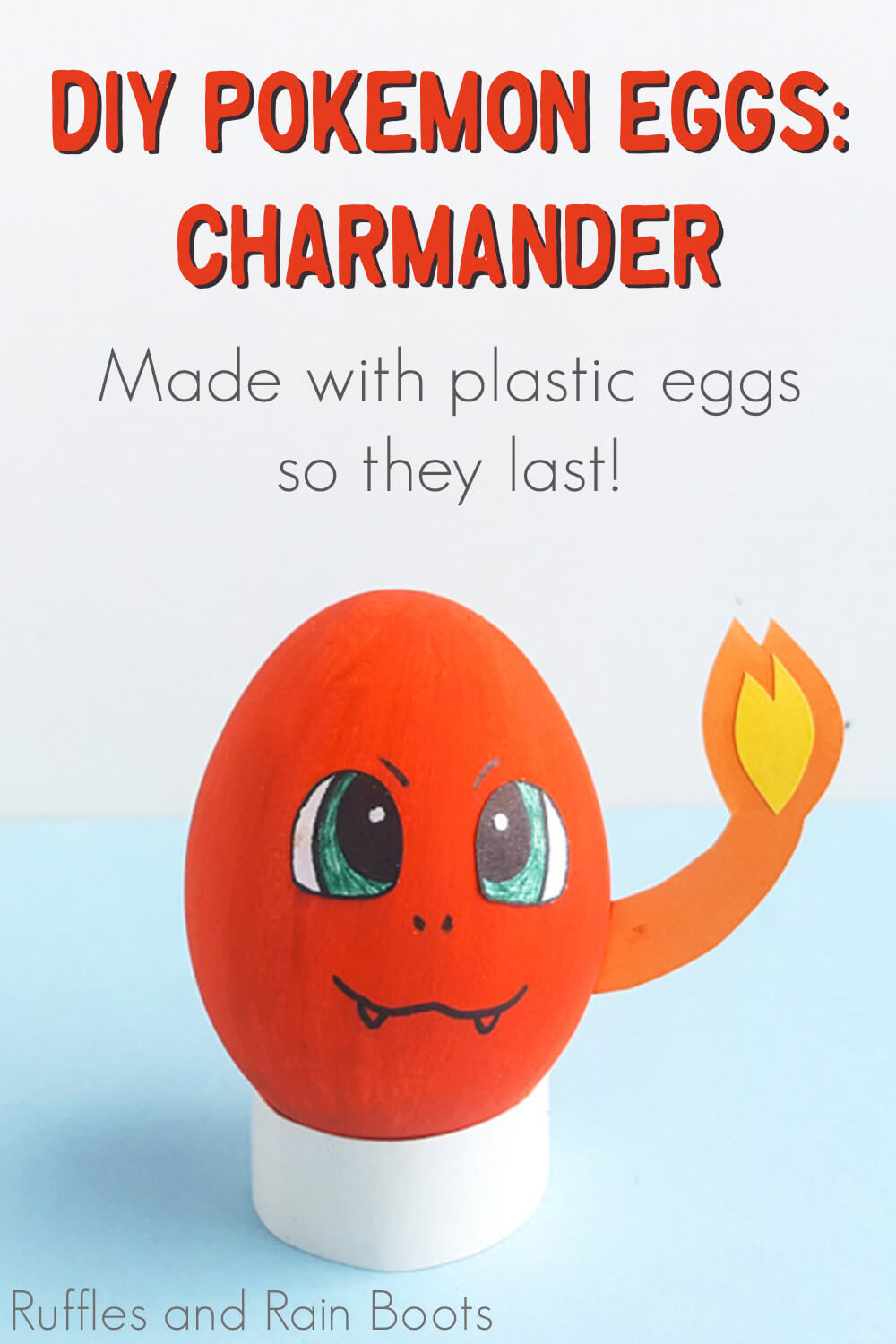 charmander easter pokemon eggs on a blue background with text which reads diy pokemon eggs: charmander made with plastic eggs so they last!