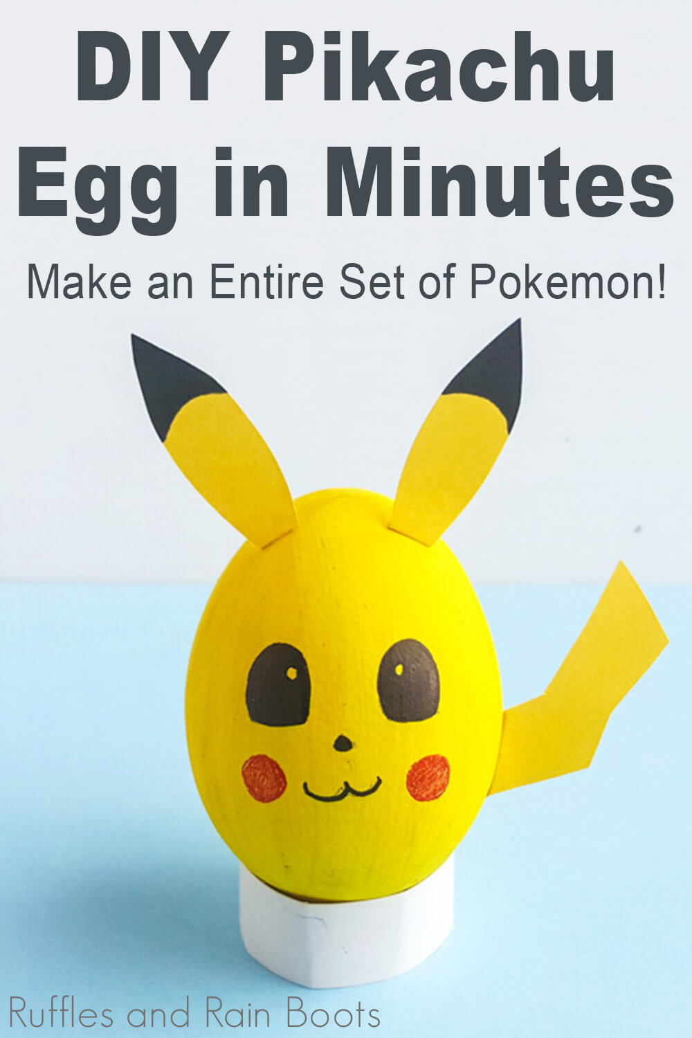 pikachu craft pokemon eggs for easter on a blue background with text which reads diy pikachu egg in minutes make an entire set of pokemon