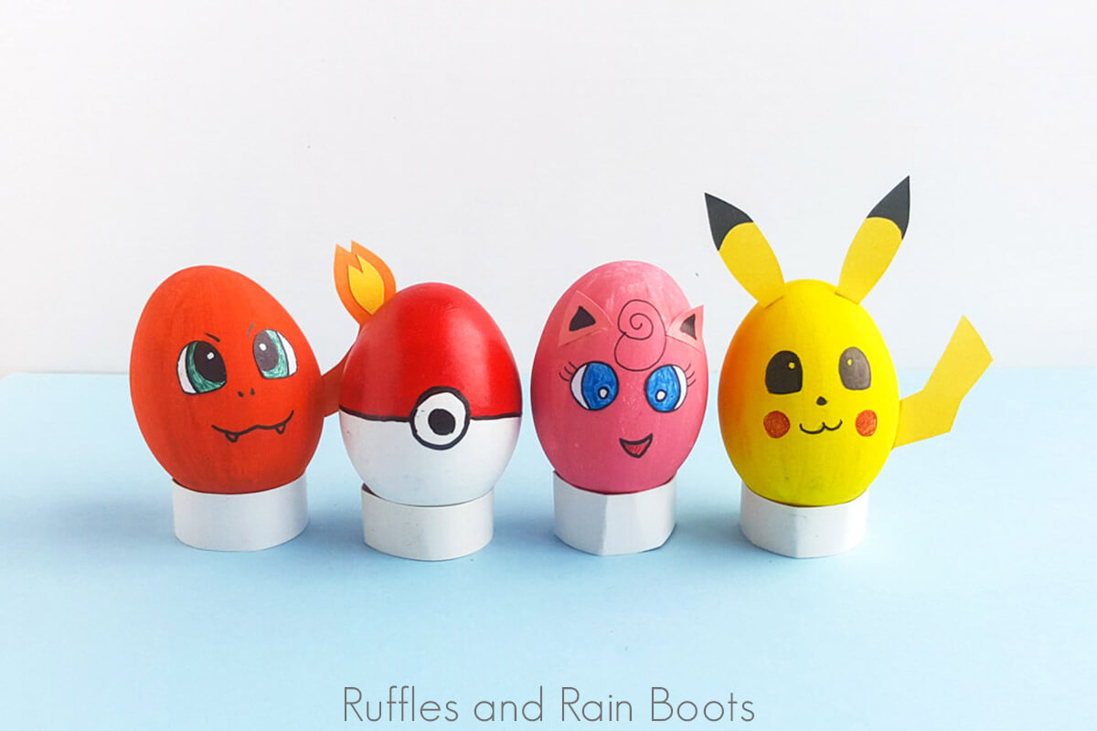 pokemon eggs a fun easter painting craft for kids on a blue background