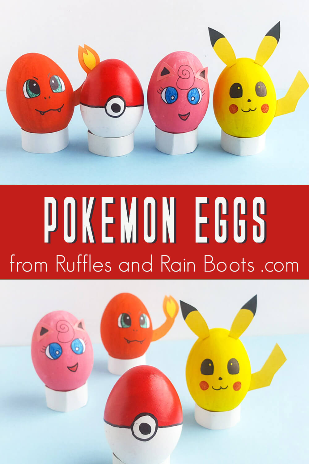 photo collage of pokemon eggs decorated for easter decor with text which reads pokemon eggs