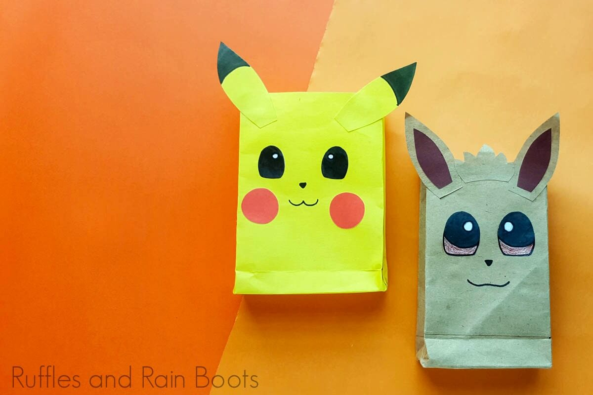 adorable pokemon party idea pokemon favor bags on an orange background