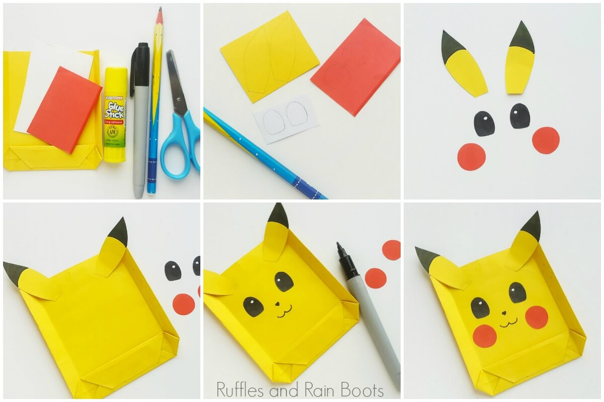 photo collage of how to make a pokemon party bag