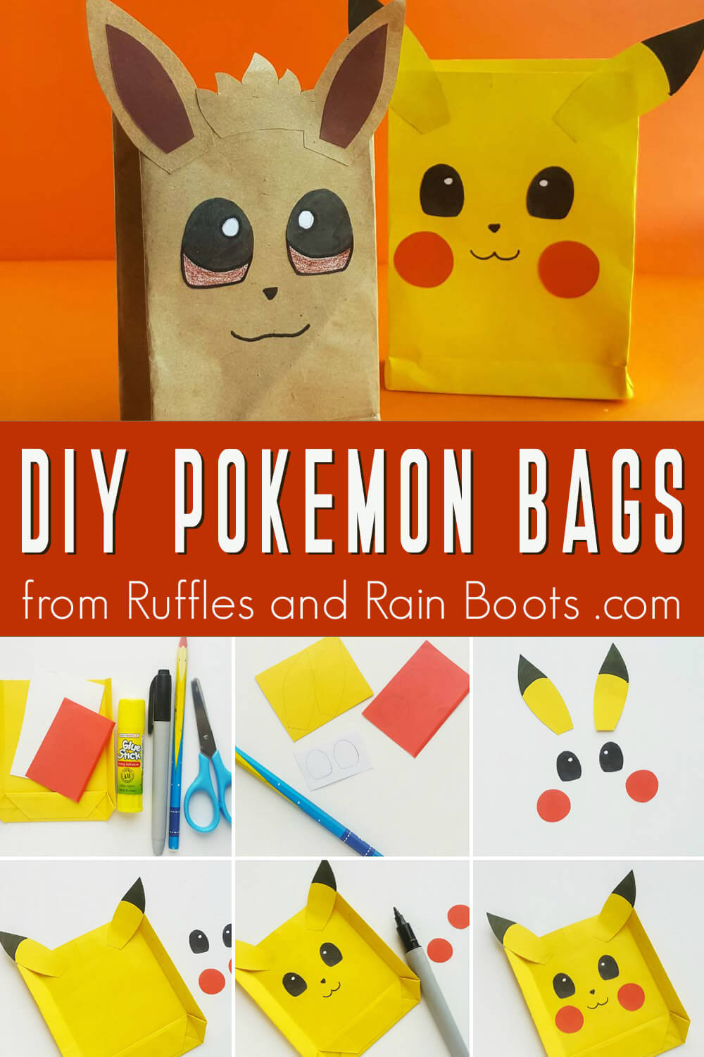 photo collage of pokemon party bags printable pikachu and evee with text which reads diy pokemon bags