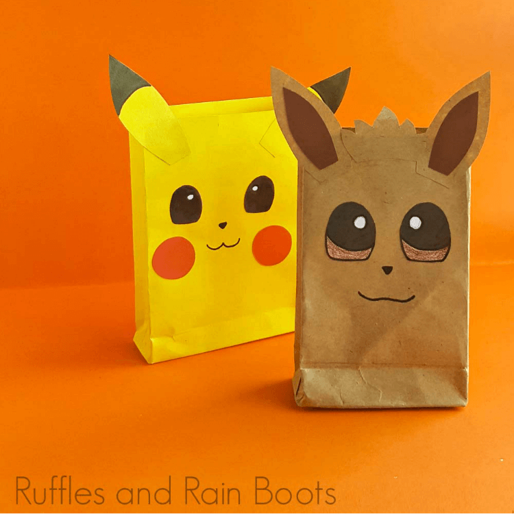 pokemon party bags on an orange background