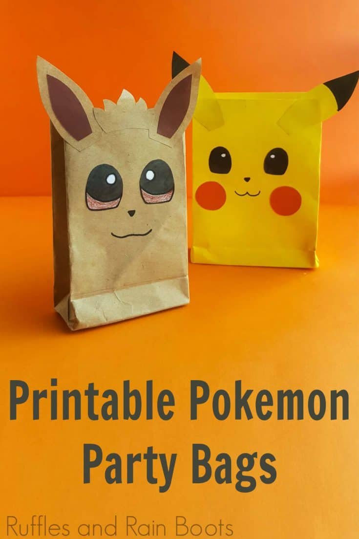 These printable Pokemon party bags are so cute! They're the perfect Pokemon party idea. Click here to see how she makes these simple Pokemon favor bags in minutes! #pokemon #pokemonparty #pikachuparty #pokemonfavorbags #pokemonpartybags #pokemonpartyideas #rufflesandrainboots