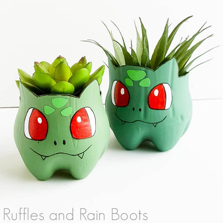Bulbasaur planter pokemon craft on a white background