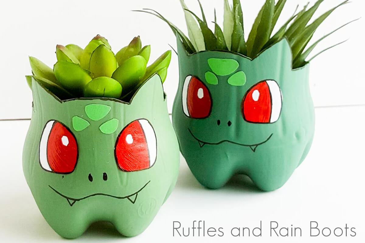 I can't get over how cute this recycled Bulbasaur planter is! Definitely a cute Pokemon craft for kids or moms. Click here to see how she makes this simple Pokemon craft in just a few minutes. #pokemon #pokemoncraft #recyclingcraft #bulbasaur #rufflesandrainboots