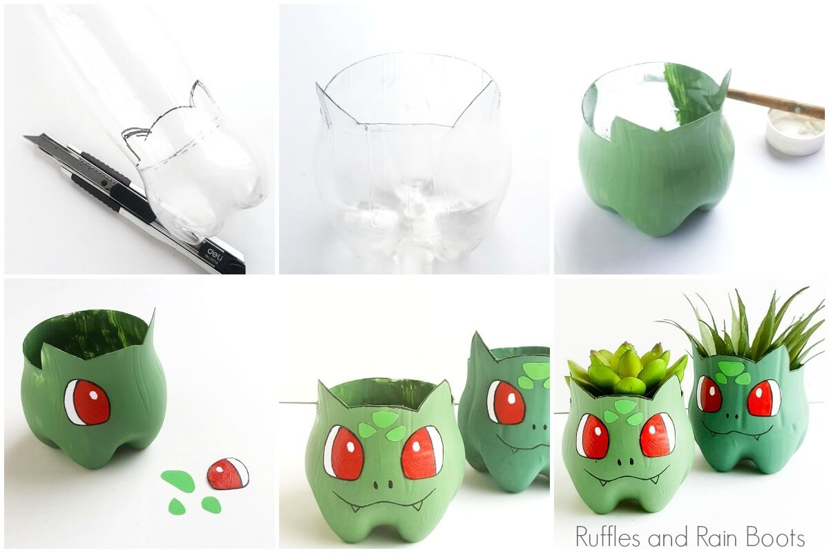 photo collage of how to make a recycled Bulbasaur planter pokemon craft
