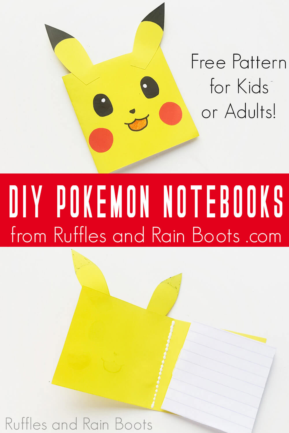 photo collage of pikachu notebook with text which reads diy pokemon notebooks