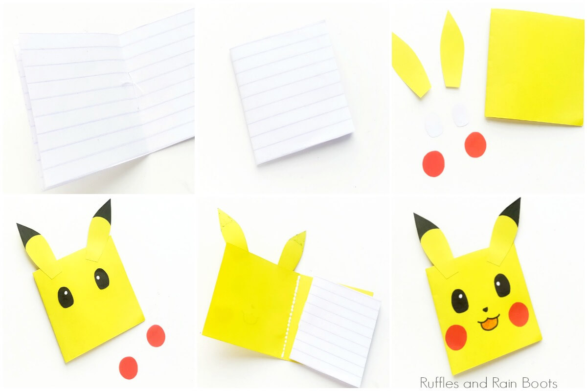 photo collage of how to make pokemon notebooks easily