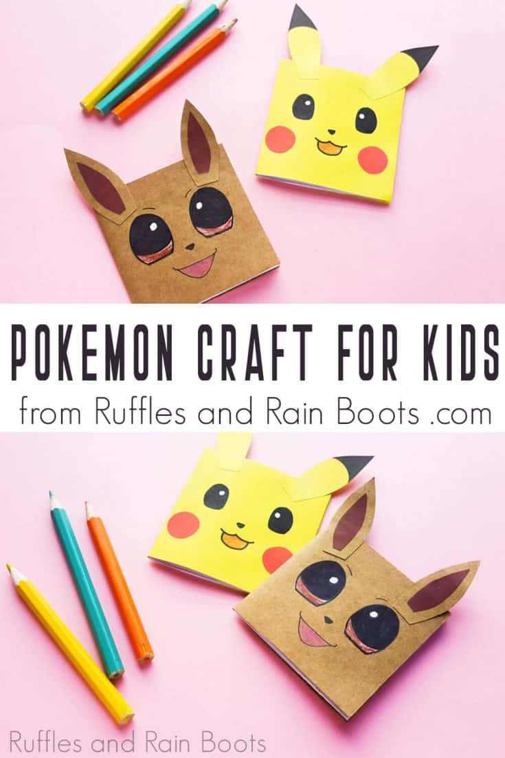This Pikachu notebook is so CUTE! I love this Pokemon party idea! Click here to see how she makes this simple Pokemon notebook craft idea in a few minutes. #pokemonparty #pokemonpartyideas #pikachuparty #pokemon #detectivepikachuparty #eveecrafts #pikachucrafts #pokemoncrafts #rufflesandrainboots