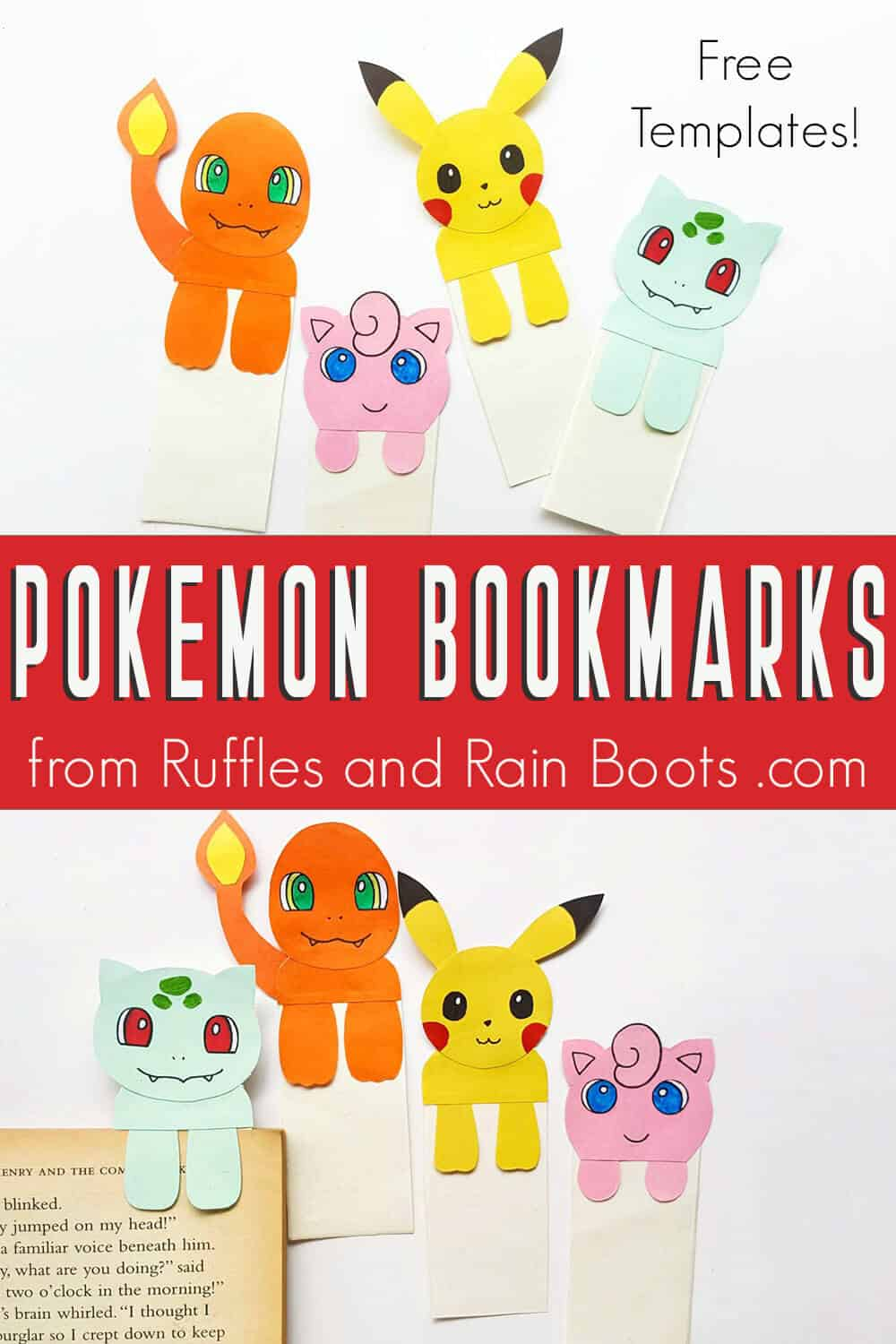 photo collage of free pokemon bookmakrs printable with text which reads pokemon bookmarks