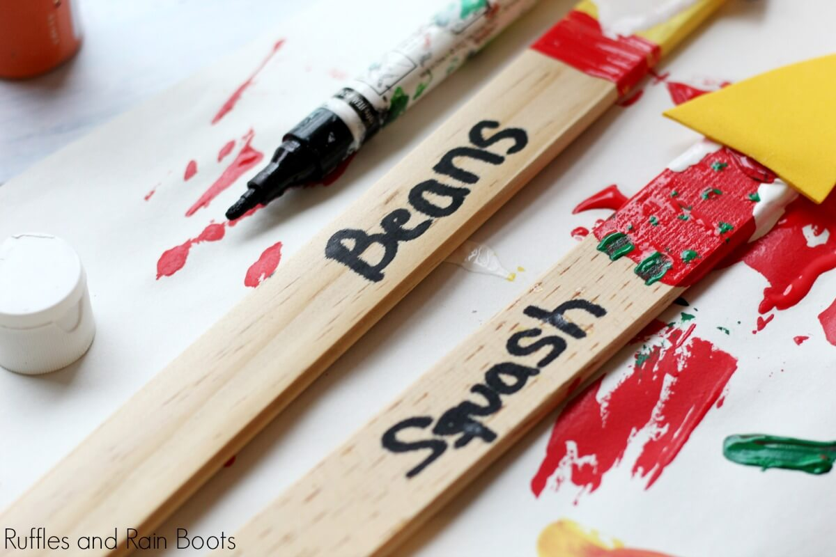 adding on the seed names on these adorable gnome craft for kids