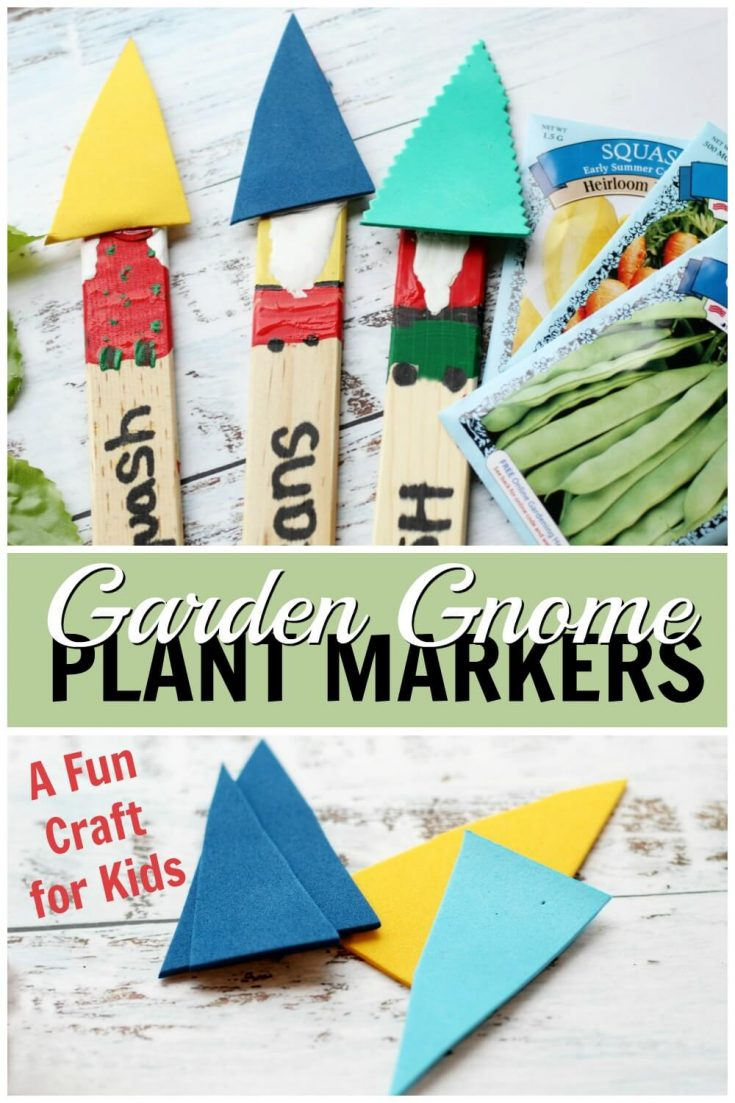 These gnome plant markers are a perfect craft for spring! Grab the kids and click through to get started! #gnomes #gardencrafts #kidcrafts #rufflesandrainboots
