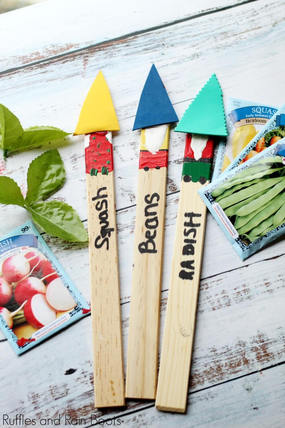 completed gnome plant markers ready to plant