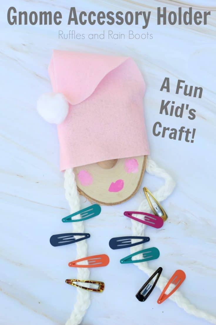 Let the kids make this adorable gnome barrette holder on a rainy day. Click through to learn how to set up this easy craft for kids. #gnome #gnomes #kidcrafts #craftsforkids #gnomecrafts #rufflesandrainboots